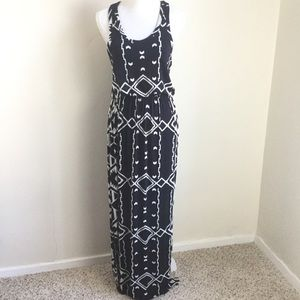 J. Crew Maxi Dress Blue White Aztec Print